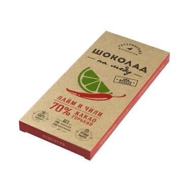 Шоколад На Меду горький 70% какао С Лаймом и Чили 85г