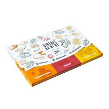 """Набор горького шоколада на меду """"Премиум"""" с дольками апельсина, с малиной и кедровым орехом"""